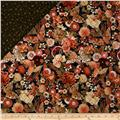 Imperial Garden Double Sided Quilted Butterfly Floral Brown/Coral