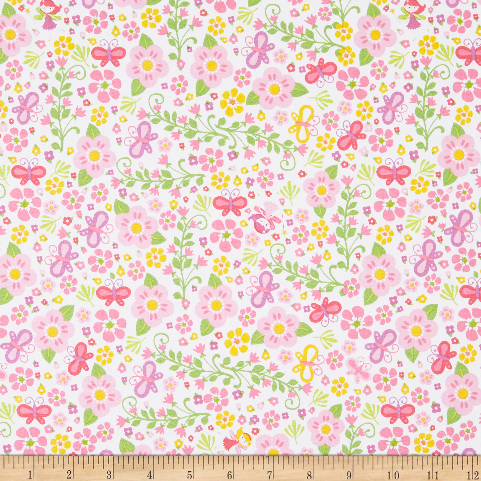 INOpets.com Anything for Pets Parents & Their Pets Riley Blake Fairy Garden Garden White Fabric