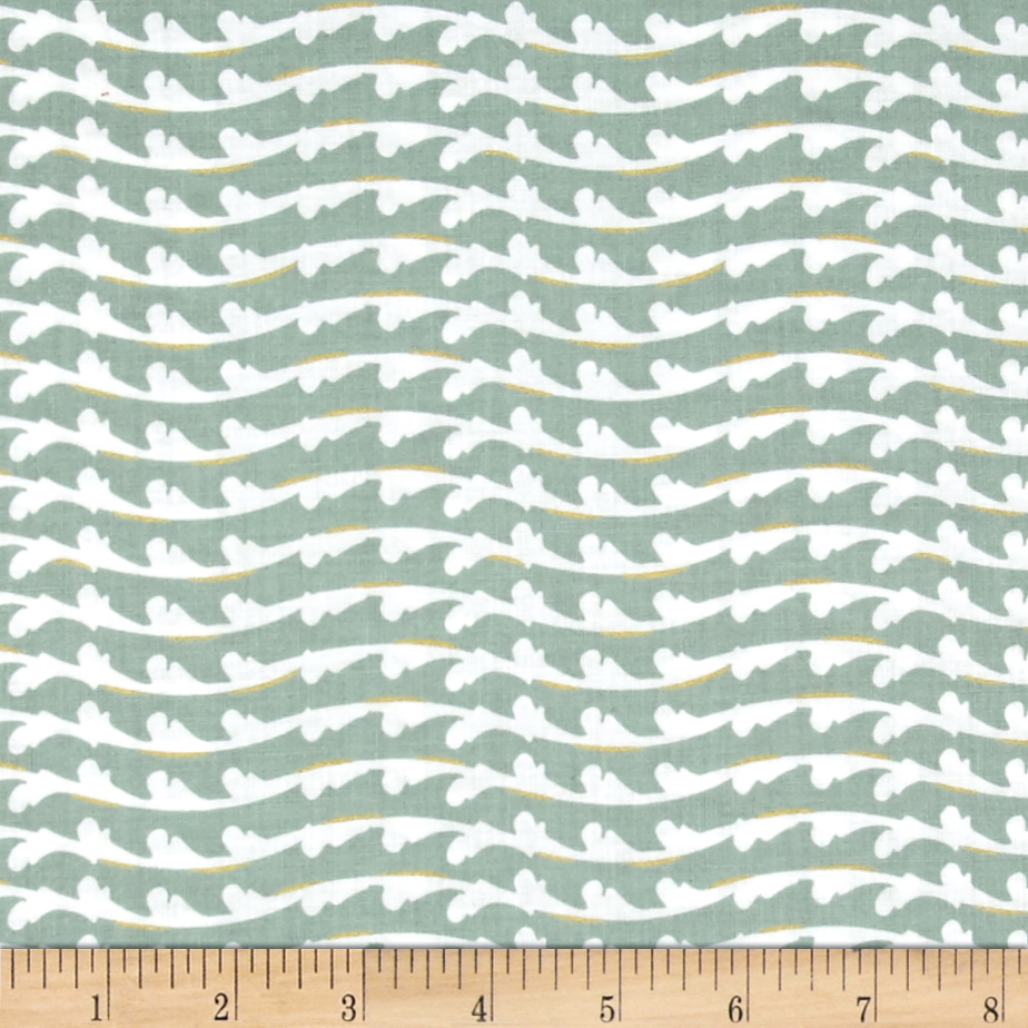 Fairmount Park Metallic Flourish Stripe Seafoam Fabric