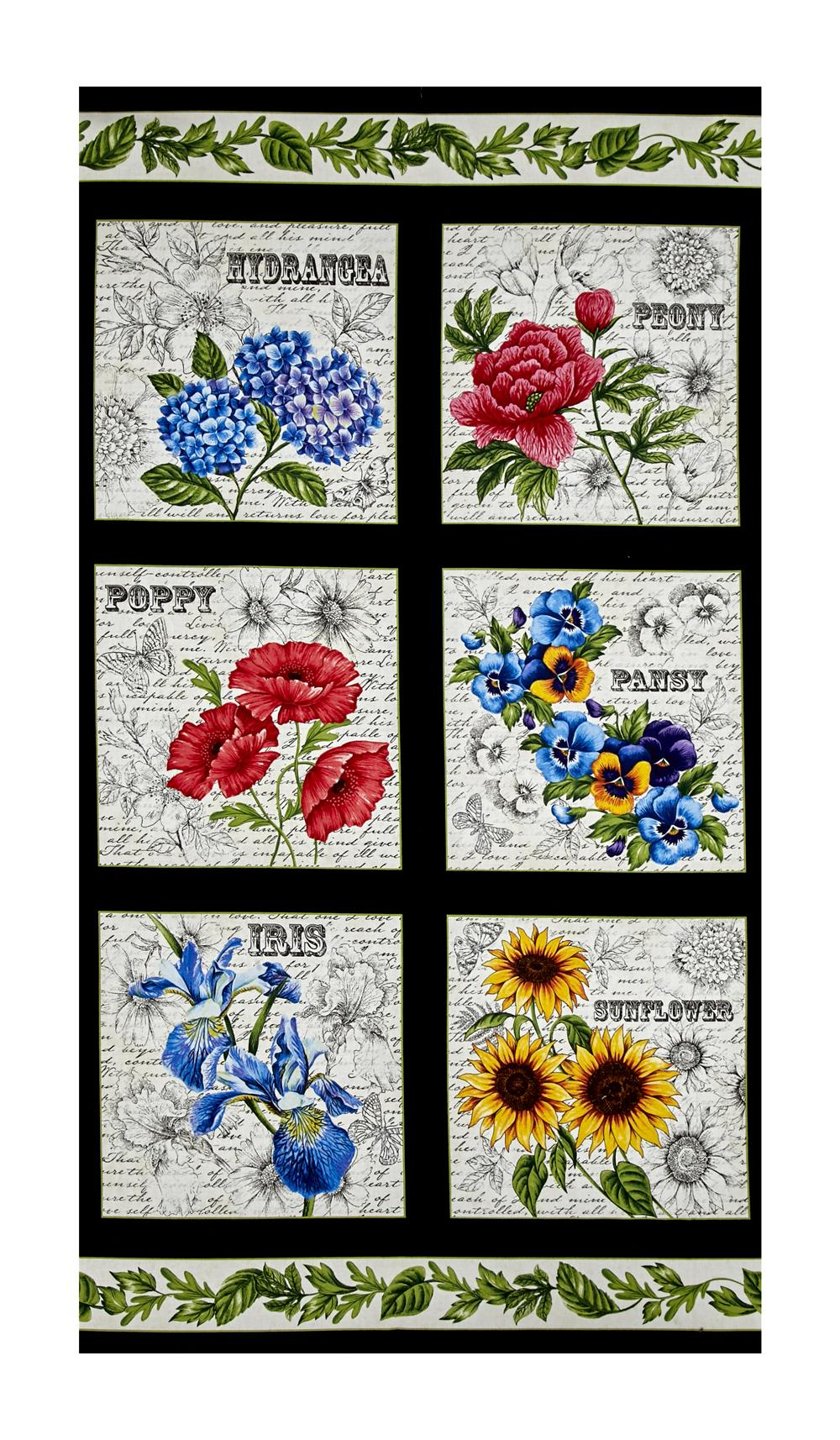 Timeless Treasures Garden Journal Floral Squares 24'' Panel Black Fabric