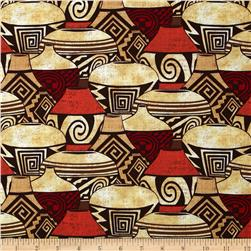 Michael Miller Painted Desert Pueblo Pottery Sunshine Fabric