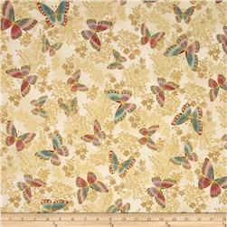 Robert Kaufman Tuscan Wildflower Metallic Butterflies Garden