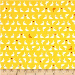 Kaufman Tiny Happy Lucky Bunnies Yellow