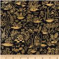 Cotton + Steel Rifle Paper Co. Wonderland Metallic Magic Forest Midnight