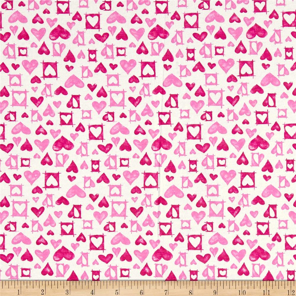 Cotton Jersey Knit Hearts White/Pink Fabric