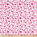 Cotton Jersey Knit Hearts White/Pink