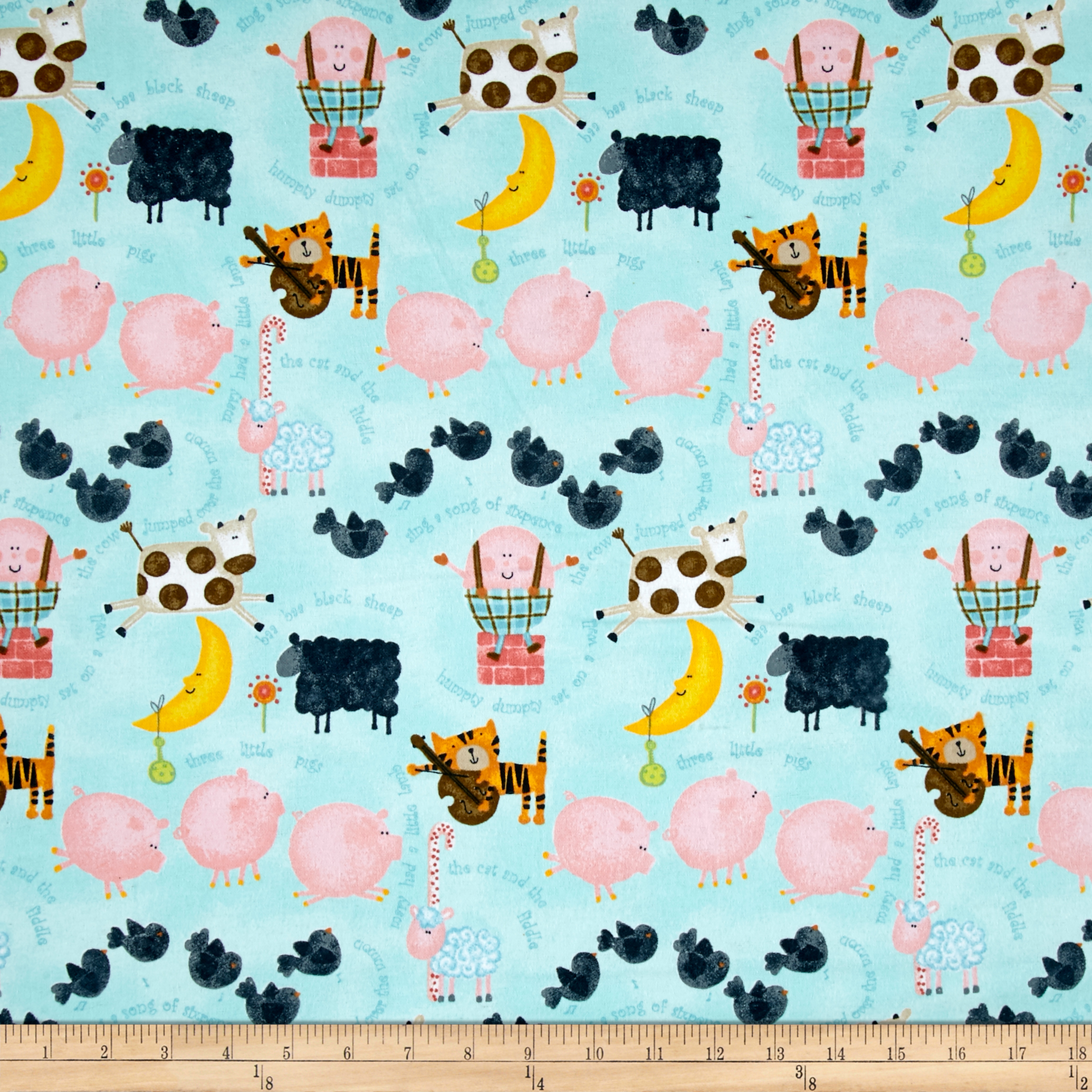 Comfy Flannel Nursery Rhyms Blue Fabric By The Yard by A. E. Nathan in USA