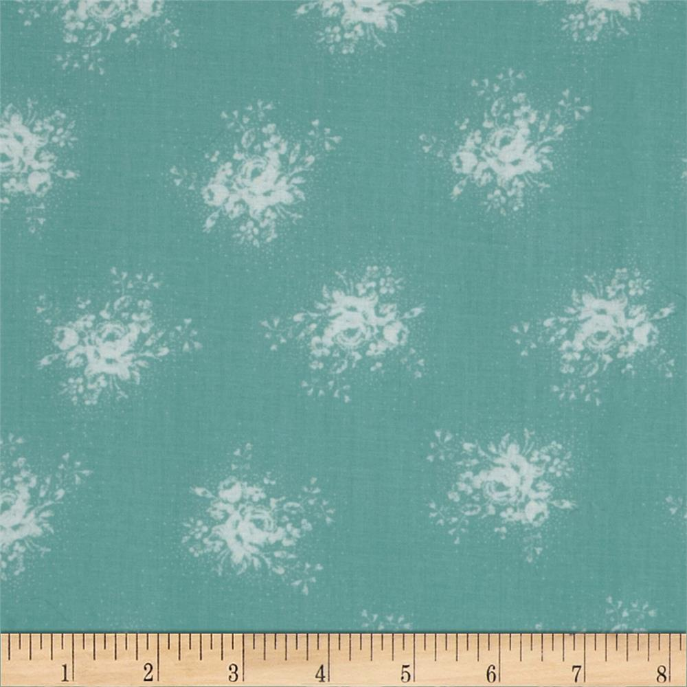 Durham Collection Medium Rustic Roses Aqua