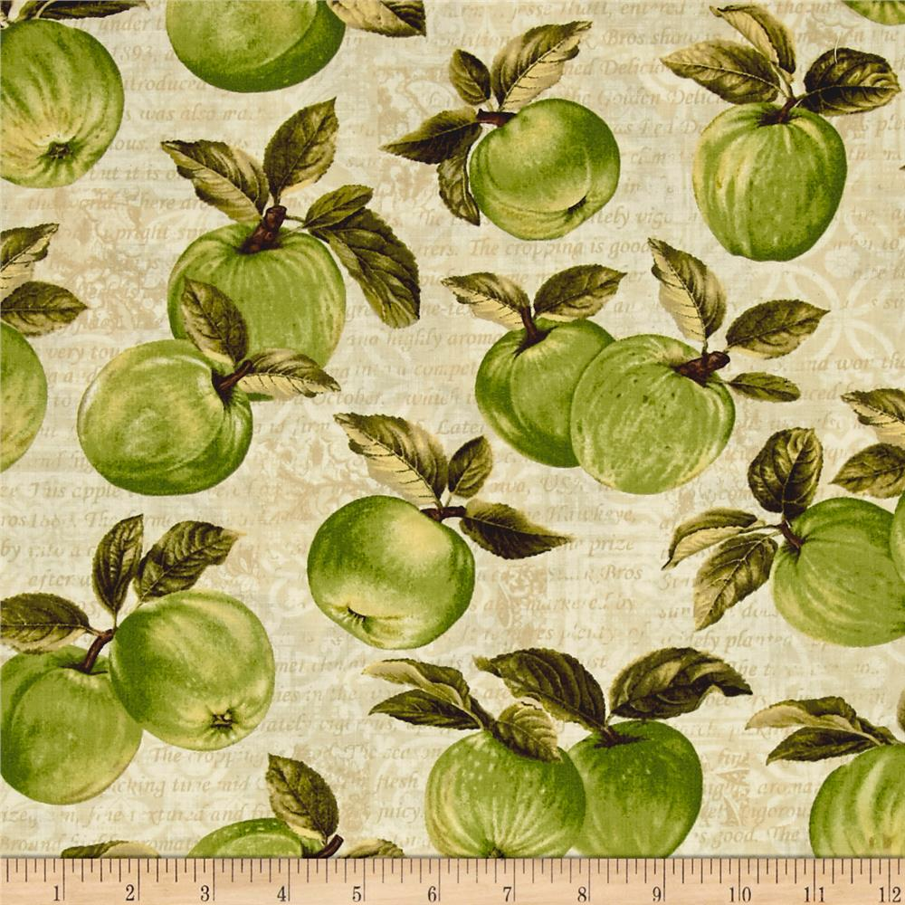 Apple picking time apple orchard cream discount designer fabric for Home interiors apple orchard collection