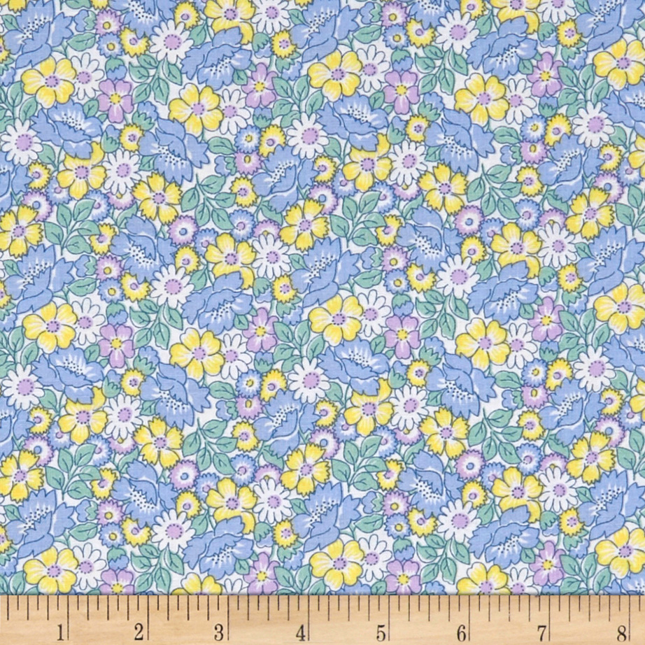 1930s House Dresses Nana Mae II 1930s Reproduction Packed Floral Blue Fabric $8.57 AT vintagedancer.com