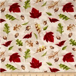 A Colorful Season Tossed Leaves Cream Fabric