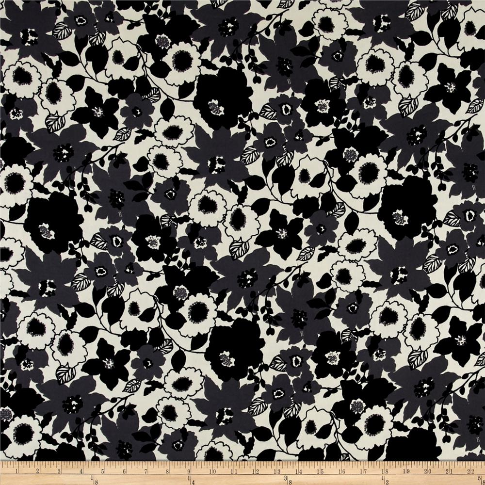 Floral Dobby Crepe Print Black/Charcoal