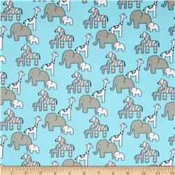 Little Safari Flannel Animals Aqua