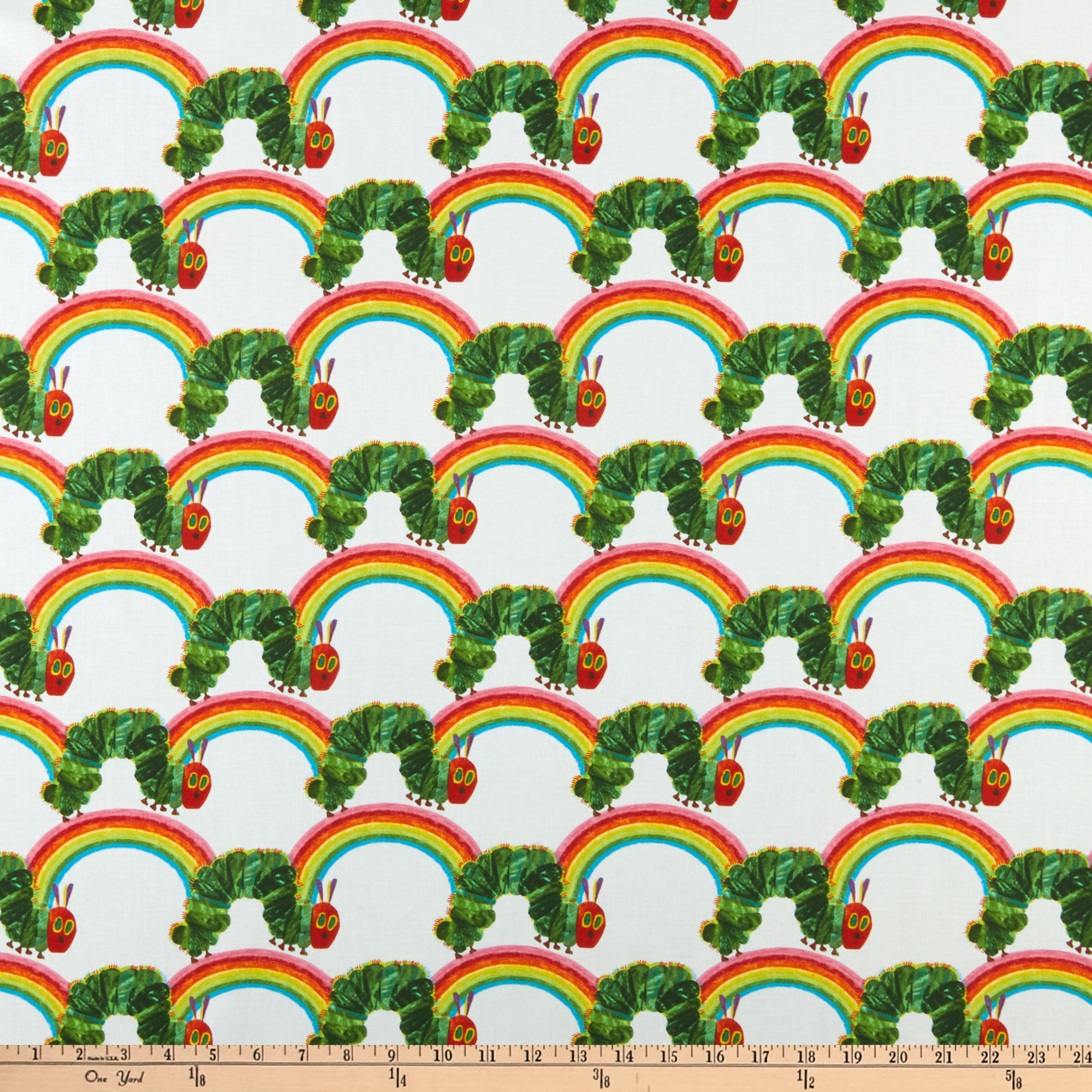 Andover The Very Hungry Caterpillar: Bright Rainbow White Fabric