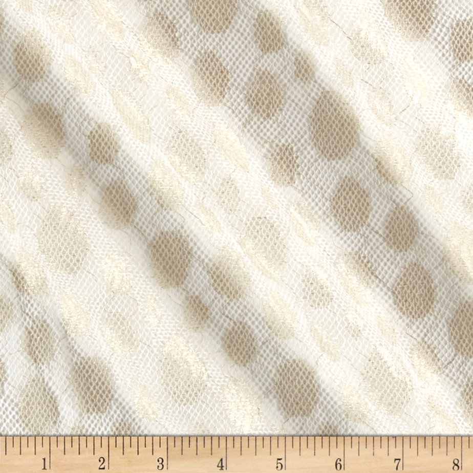 Mesh Polka Dot White/Gold Fabric by Bellagio in USA