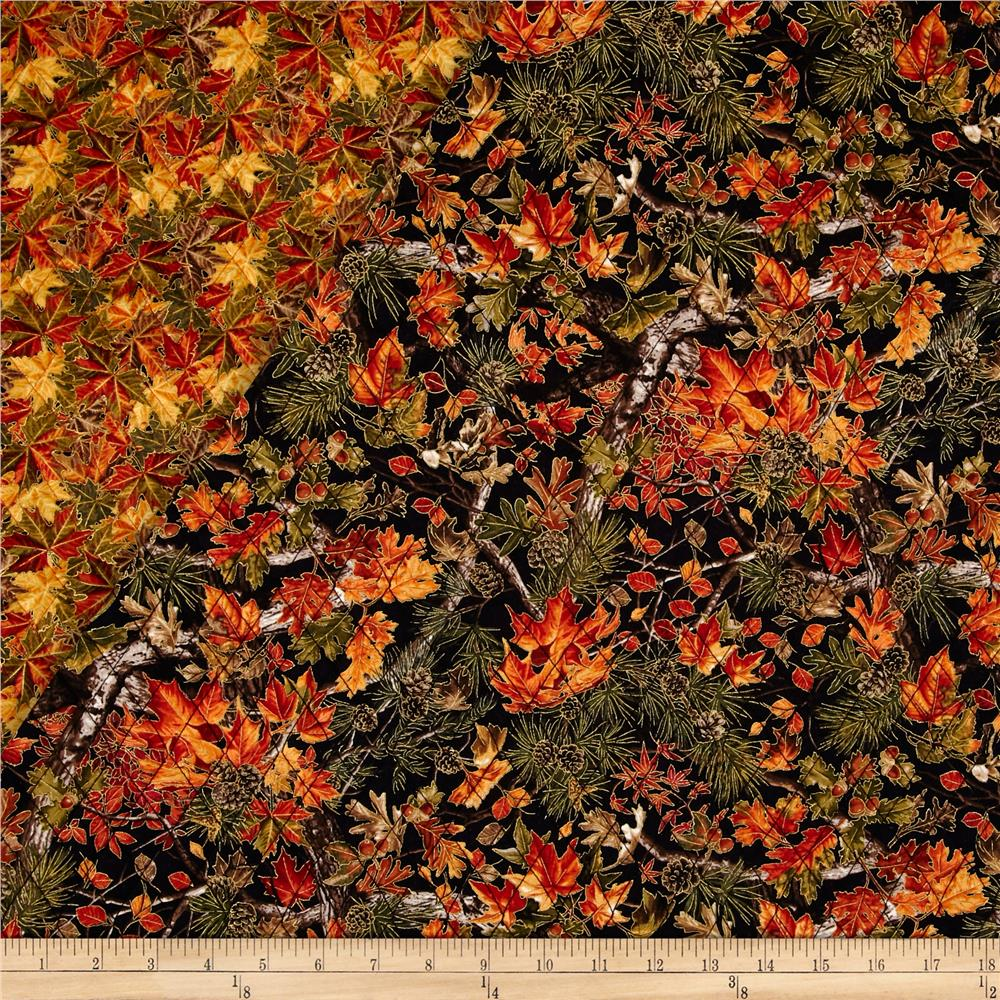 Into The Woods Double Sided Quilted Fall Leaves Black