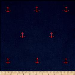 Kaufman Embroidered Corduroy 21 Wale Anchors Navy