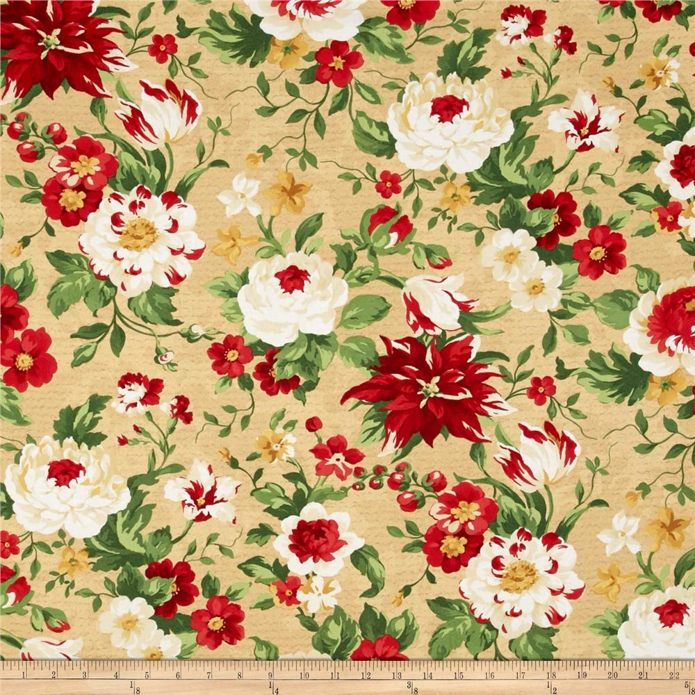 Crimson & Holly Large Floral Cream