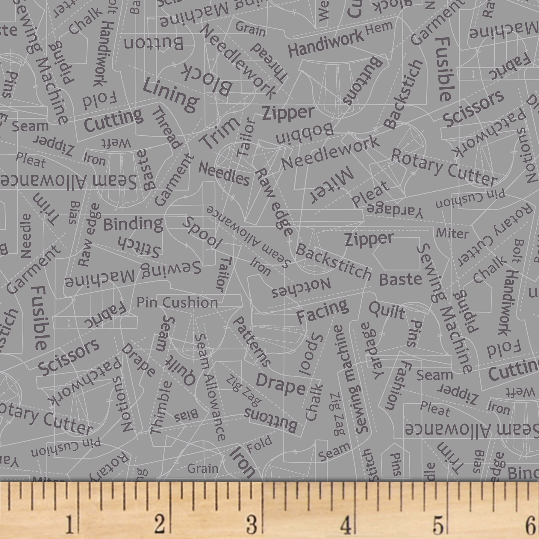 INOpets.com Anything for Pets Parents & Their Pets Betterstitch Sewing Words Grey Fabric