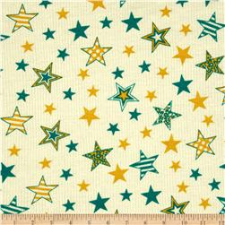 Stretch Rayon Rib Knit Stars Ivory/Green