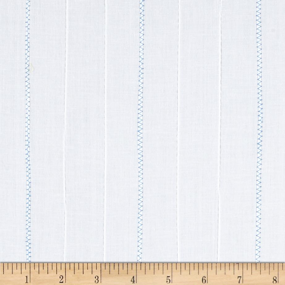 Kaufman Rick Rack & Ribbons Pintuck Lawn White/Blue