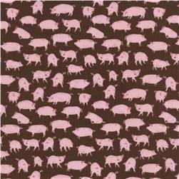 Timeless Treasures Little Farm Pigs Brown