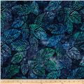 Artisan Batiks Spring Mod 2 Fern Leaves Blueberry