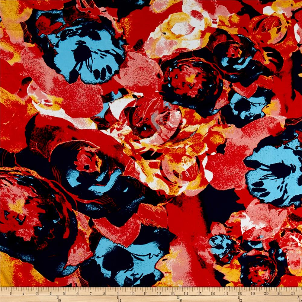Rayon Challis Floral Prints Light Blue/Coral/Orange