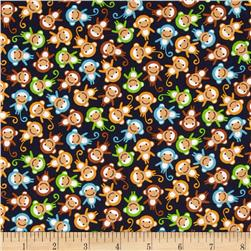 Robert Kaufman Urban Zoologie Mini Monkeys Navy Fabric