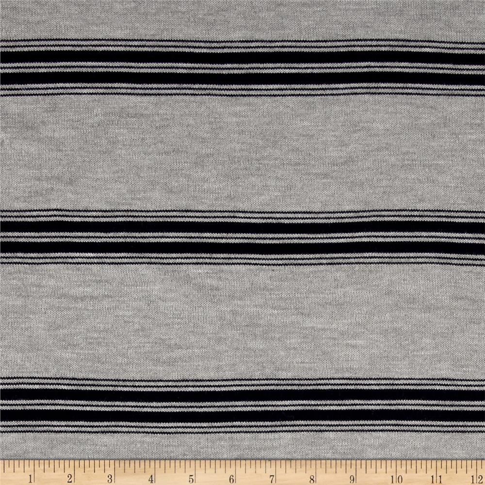 Lightweight Sweater Knit Stripe Grey/Navy Fabric By The Yard