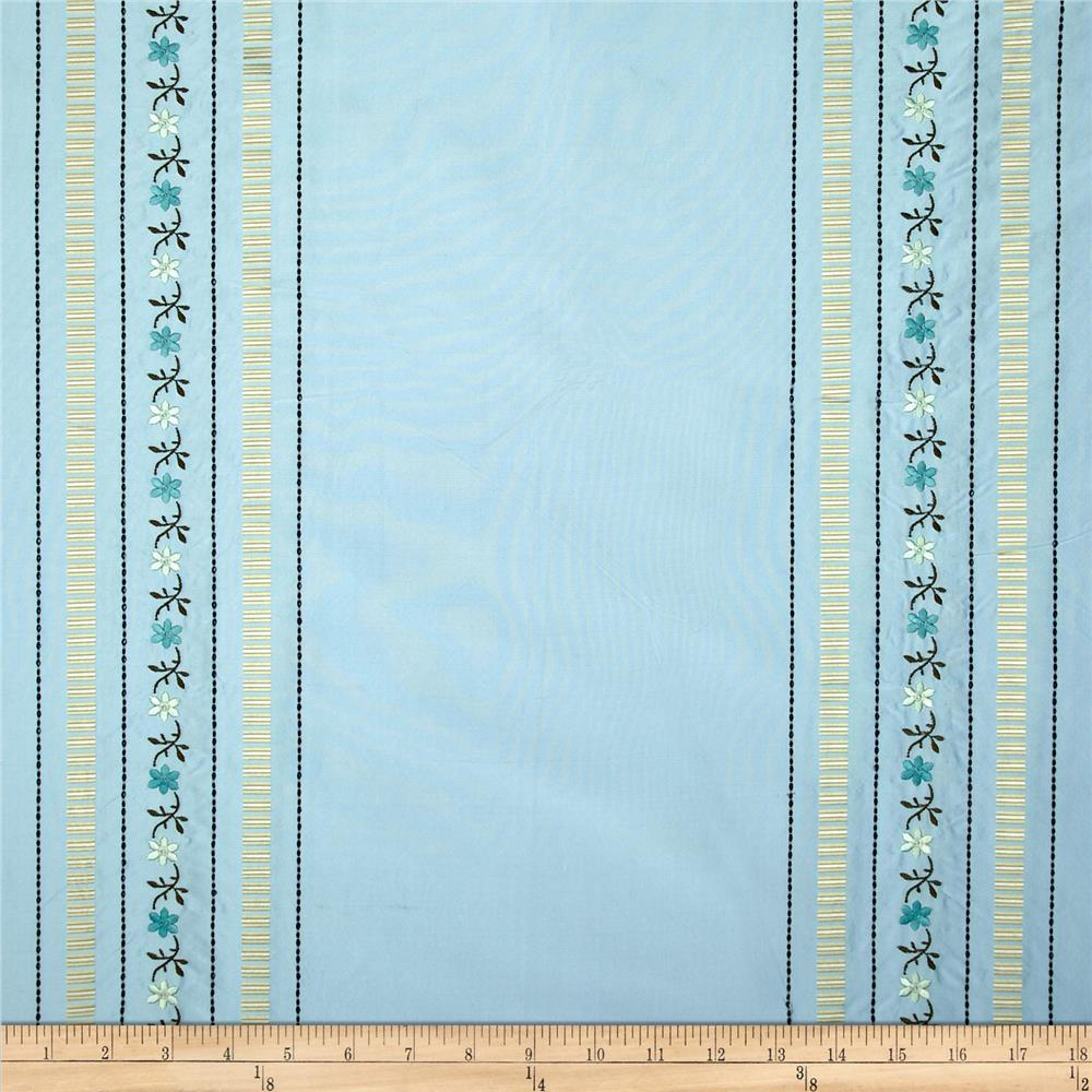 Robert Allen Promo Embroidered Silk Tarquinia Stripe Ice