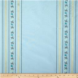Robert Allen Promo Embroidered Silk Tarquinia Stripe Ice Blue