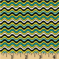 Crazy Daisy Wave Black/Multi Fabric