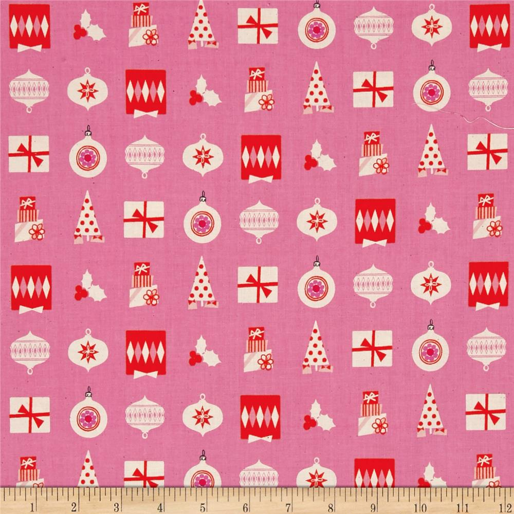 Cotton + Steel Noel Wrapped Up Pink
