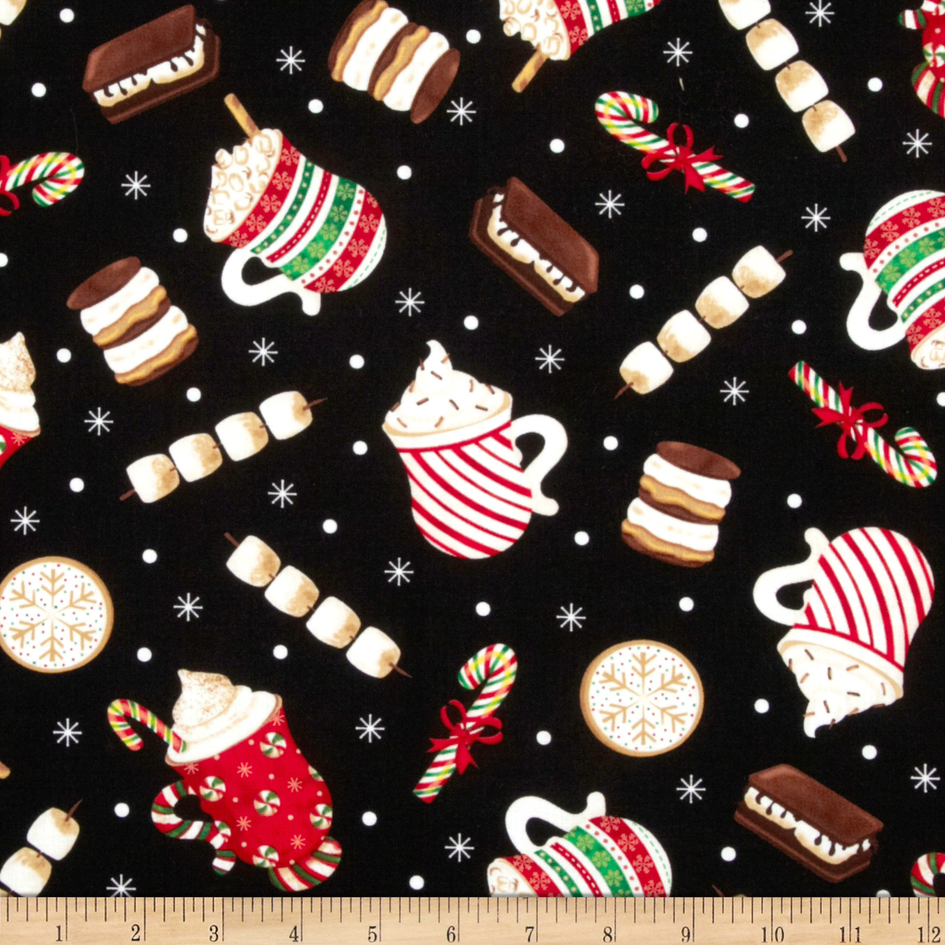 Timeless Treasures Holiday Cocoa Mugs Black Fabric