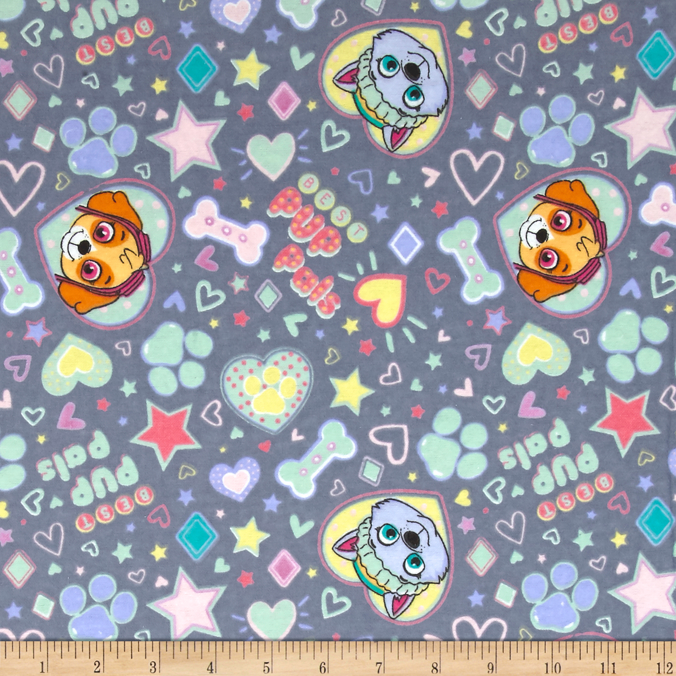 Nickelodeon Paw Patrol Pup Pals 4ever Flannel Grey Fabric