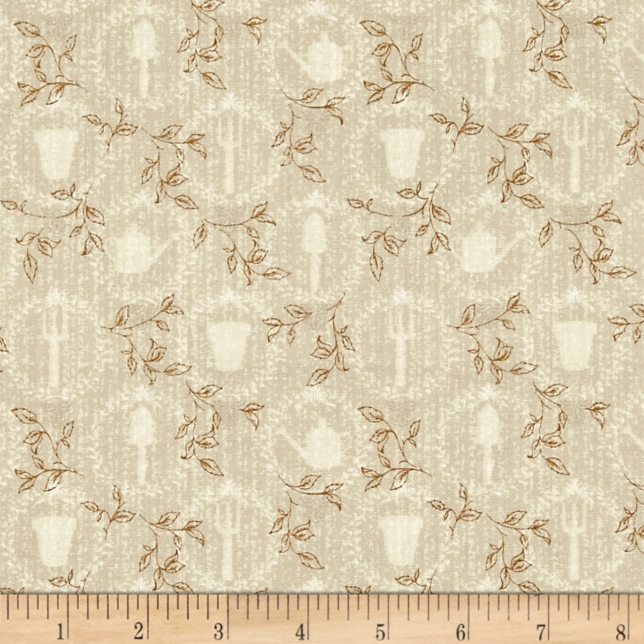 Pink Lady Framed Garden Tools Beige Fabric by P & B in USA