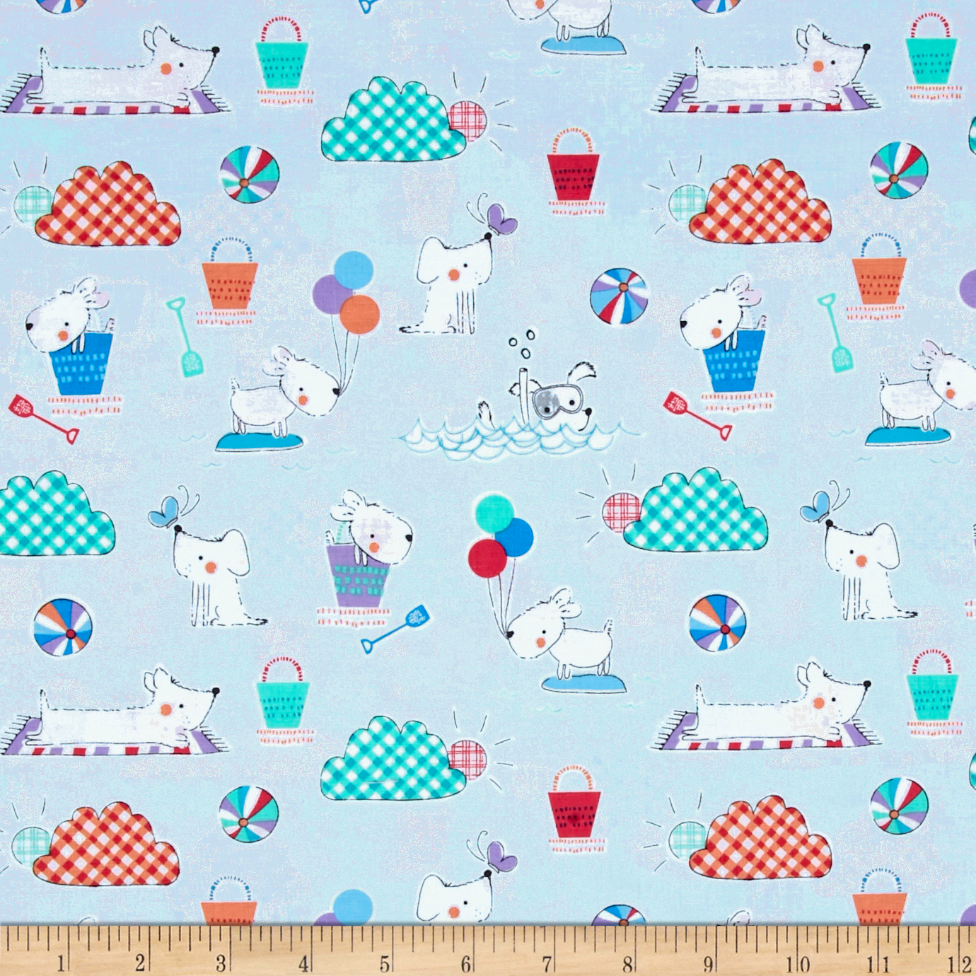 Michael Miller Doggie Play Day Doggie Day Afternoon Sky Fabric