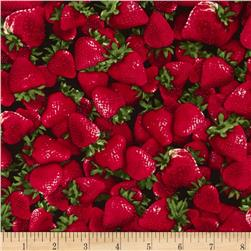 Timeless Treasures Strawberries Red