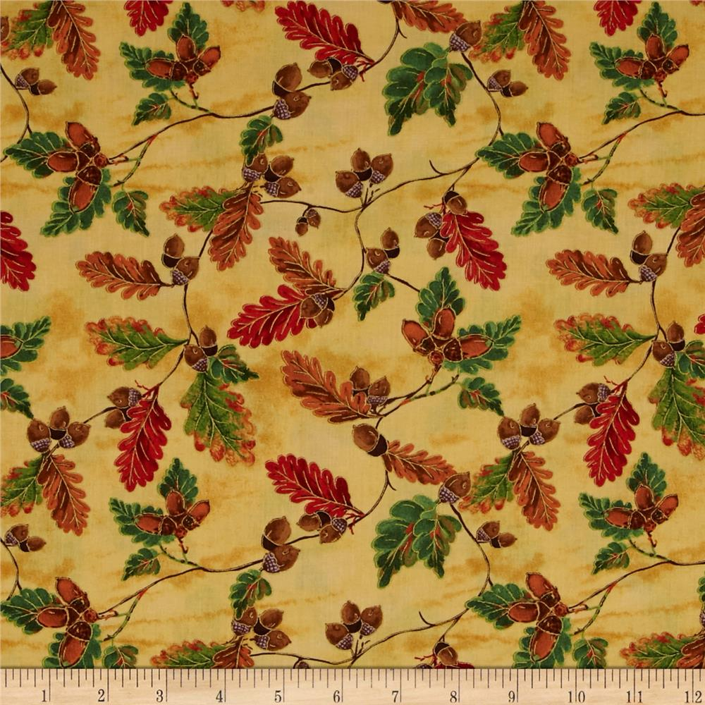 Golden Harvest Metallic Leaves & Acorns Gold Fabric By The Yard