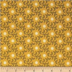 Celestial Metallic Mini Moons Gold/Navy Fabric