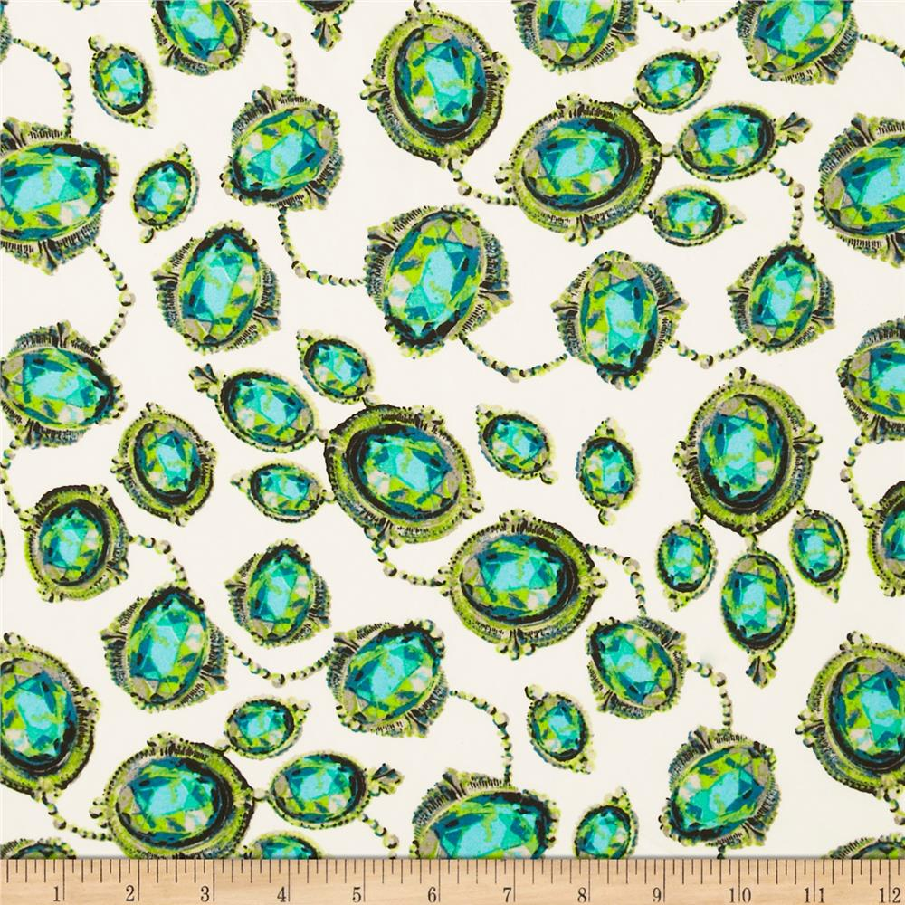 Crepe Georgette Gems Turquoise/Green/White