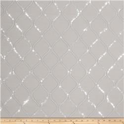 Fabricut  Sequinned Embroidered Cubillas Shimme Platinum