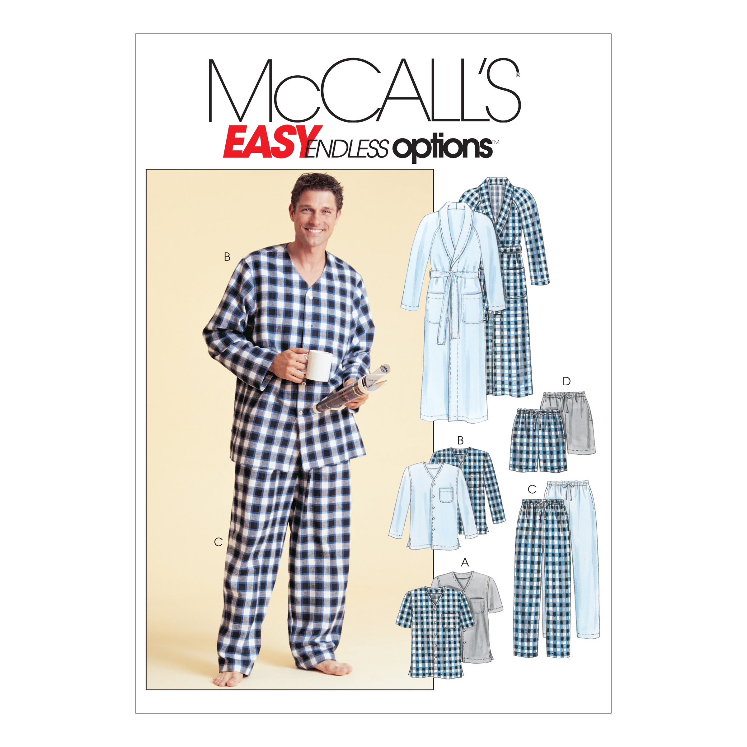 Mccalls Mens Robe Belt Tops Pants And Shorts Pattern M4244 Size 0y0