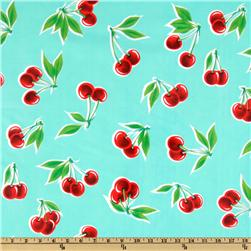 Oil Cloth Stella Cherries Aqua Fabric