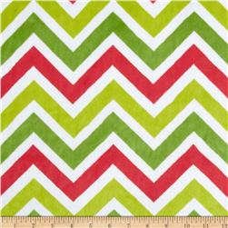 Minky Cuddle Zig Zag Lime Green/Pink