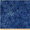 "106"" Wide Batavian Batiks Quilt Backing Flowing Petals Royal Blue"