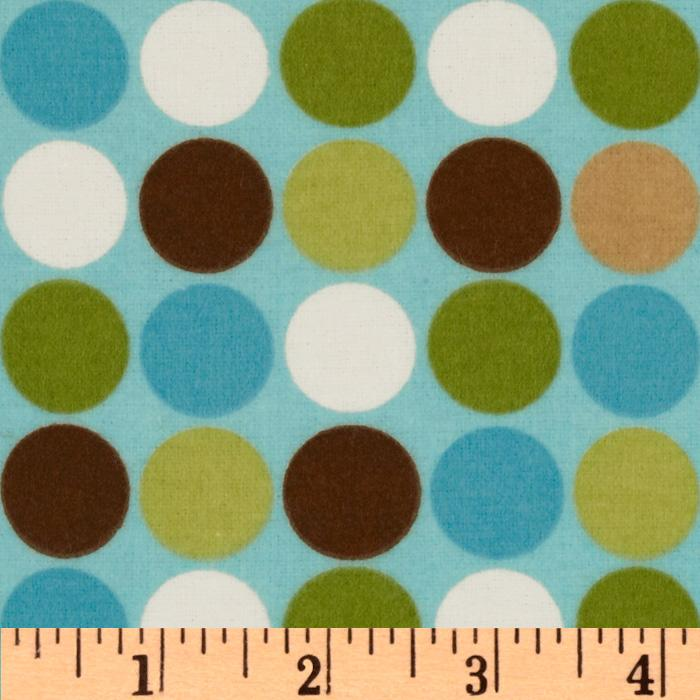 Cozy Cotton Flannel Dots Aqua