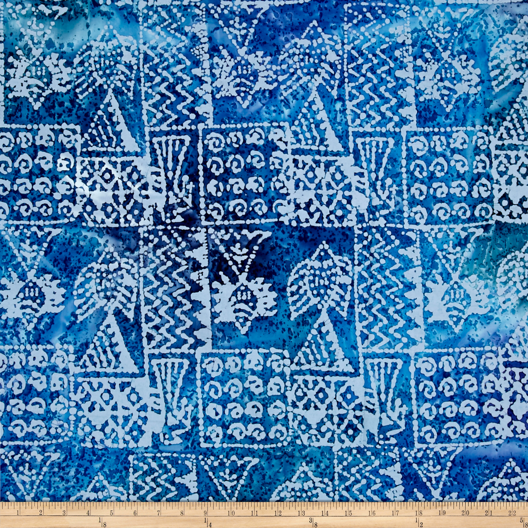Indian Batik Ocean Grove Island Patch Blue Fabric by Textile Creations in USA