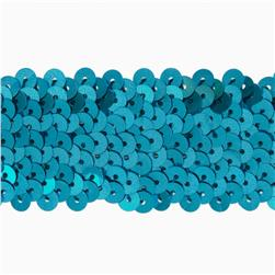 "1-1/2"" Metallic Stretch Sequin Trim Aqua Blue"
